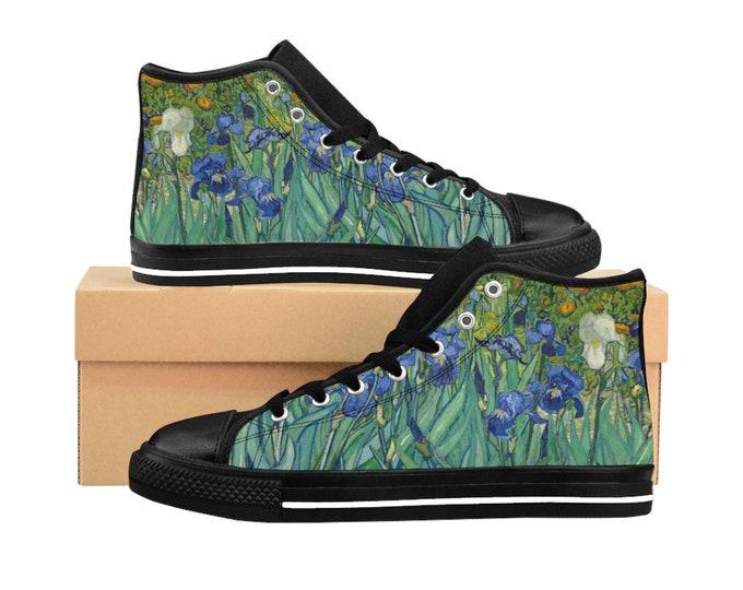 Irises, Women's High-top Sneakers, Vintage Painting, Van Gogh 1890