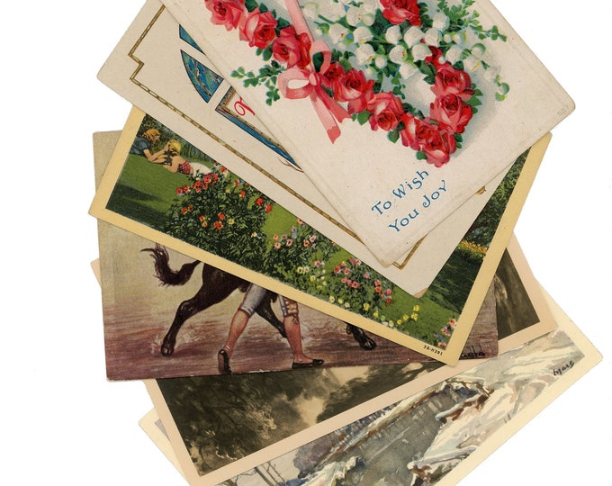 Vintage & Antique Postcards, Original, 60-120 Years Old, Postally Used, For Scrap-booking, Good Condition