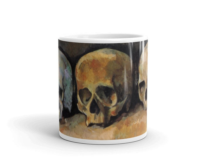 Three Skulls, Coffee Mug, Vintage, Antique Painting, Paul Cezanne, 1900