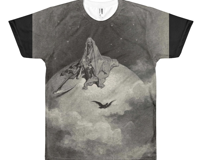 Death Sits Atop The World, All-over T-shirt, Vintage, Antique Illustration, Gustave Dore, 1883