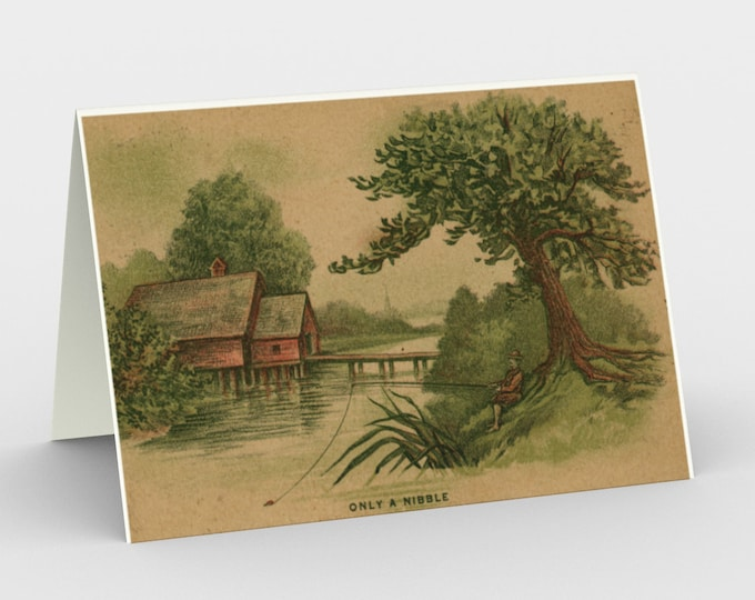 Only A Nibble - Stationery Cards (3), With An Image From An Antique Vintage Postcard, Circa 1910.
