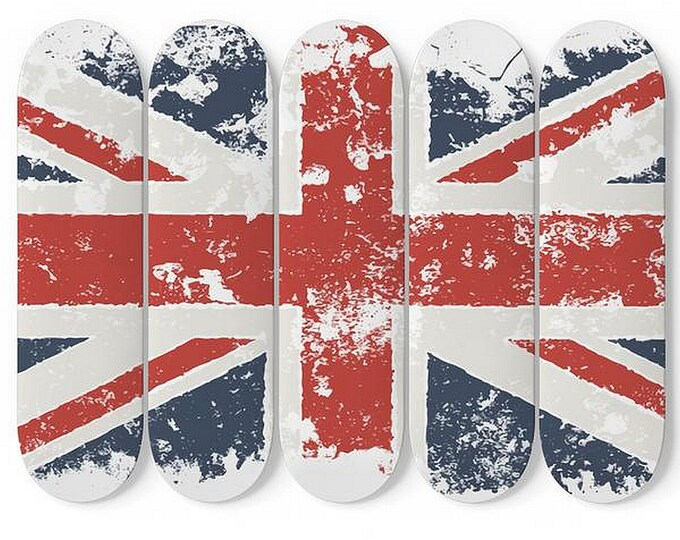 Grunge United Kingdom Flag, Skateboard Wall Art, 5 Maple Decks/Boards