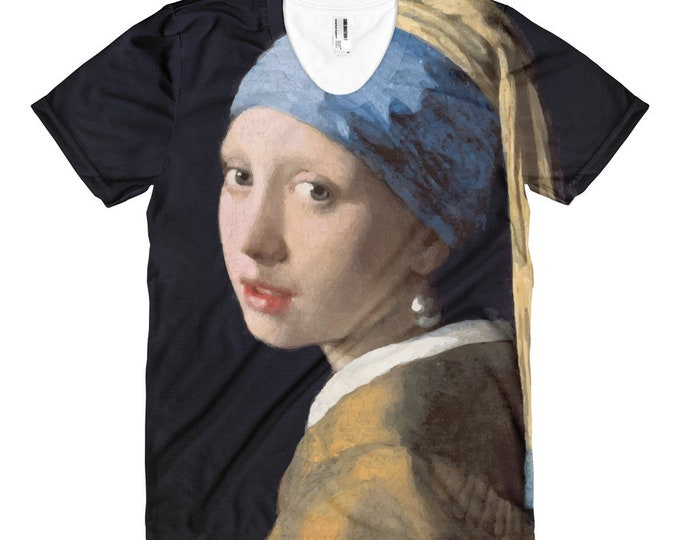 Girl With A Pearl Earring, Women's All-over T-shirt, Vintage, Antique Painting, Johannes Vermeer, 1665