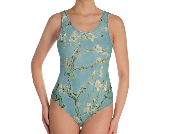 Almond Blossoms, All-Over Print One-Piece Swimsuit, Vintage Painting, Van Gogh 1890