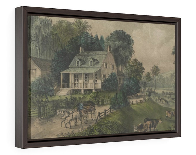 Framed Wrapped Canvas Of Vintage Hand Colored Lithograph From Currier And Ives Called American Homestead Summer Circa 1868