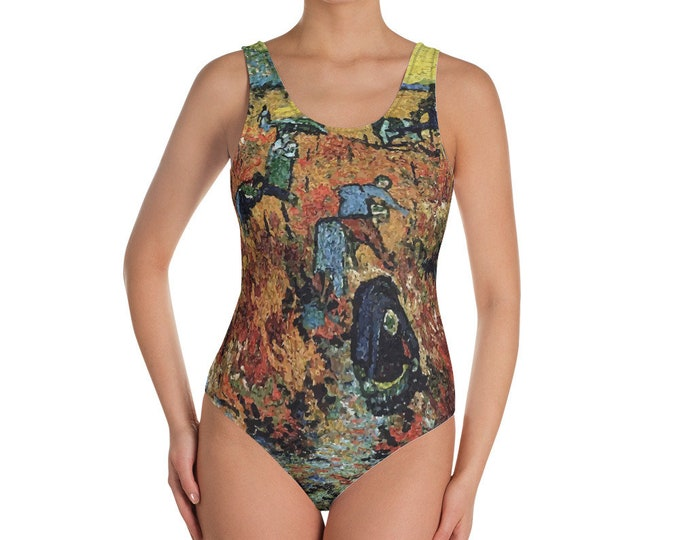Red Vineyard, All-Over Print One-Piece Swimsuit, Vintage Painting, Van Gogh 1888
