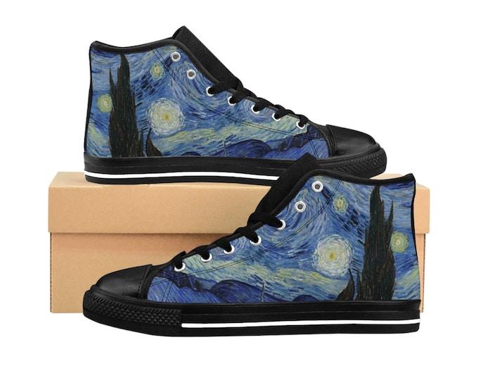 Starry Night, Women's High-top Sneakers, Vintage Painting, Van Gogh 1889
