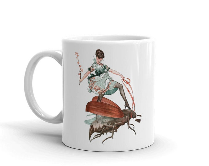 Flying High, Coffee Mug, Vintage Jazz Age Illustration, Woman Riding Flying Insect