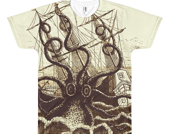 Kraken Attacks Ship, All-over Print T-shirt, Vintage, Antique Illustration, Pierre Denys de Montfort, 1801