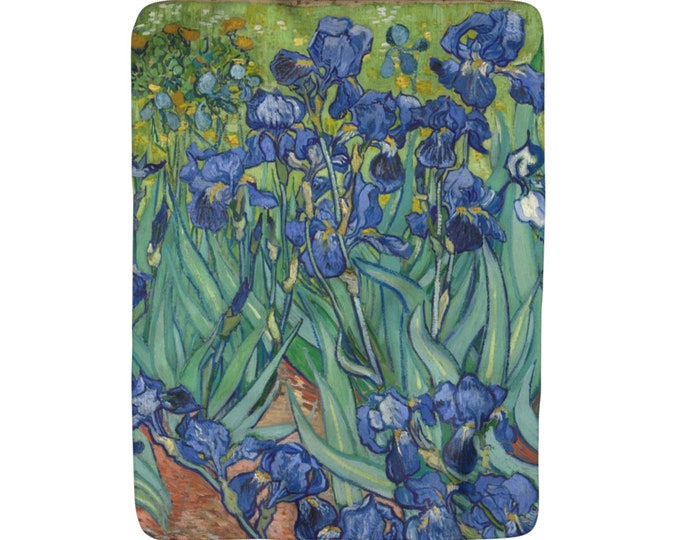 "Irises, Sherpa Fleece Blanket, Vintage, Antique Painting, Vincent Van Gogh, 1890, 50""x60"""