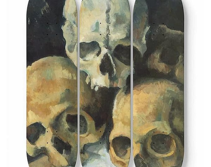 Pyramid Of Skulls, Skateboard Art, 3 Maple Decks, Vintage, Antique Painting, Paul Cezanne, 1900