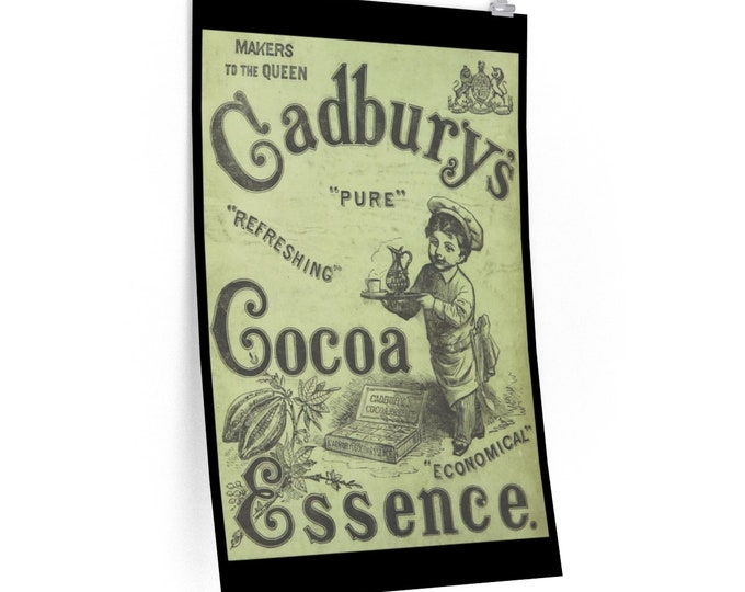 Cadbury's Cocoa Advertisement - Fine Art Poster - From An Antique Vintage Illustration, Circa 1882.