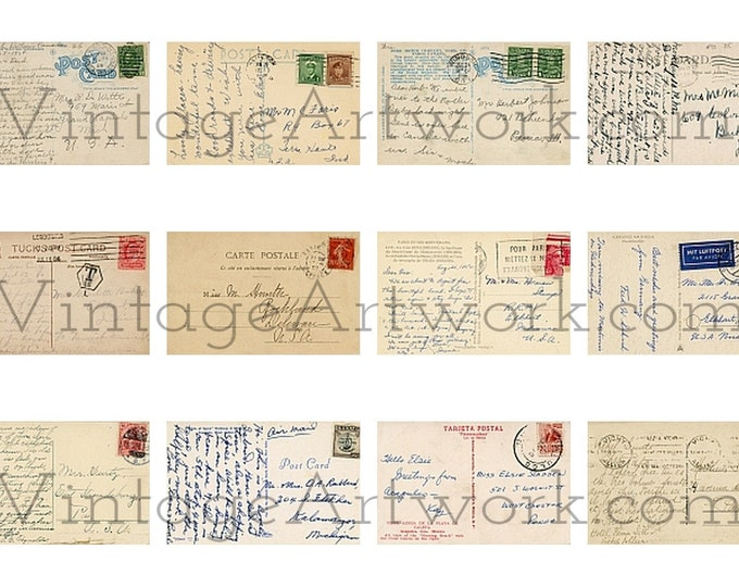 12 Posted Postcard Backs - Digital Images Of The Backs Of Non-U.S. Antique Vintage Postcards, Circa 1908-1951.
