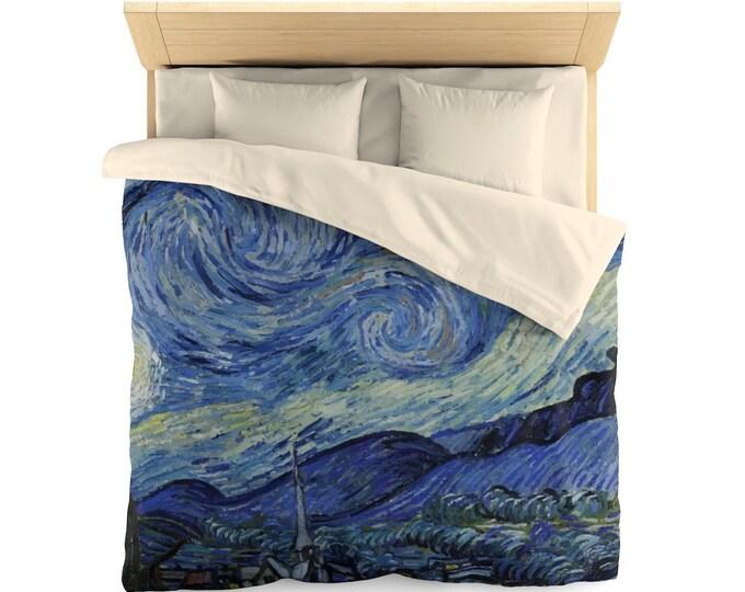 Starry Night, Microfiber Duvet Cover, Vintage, Antique Painting, Vincent Van Gogh, 1889