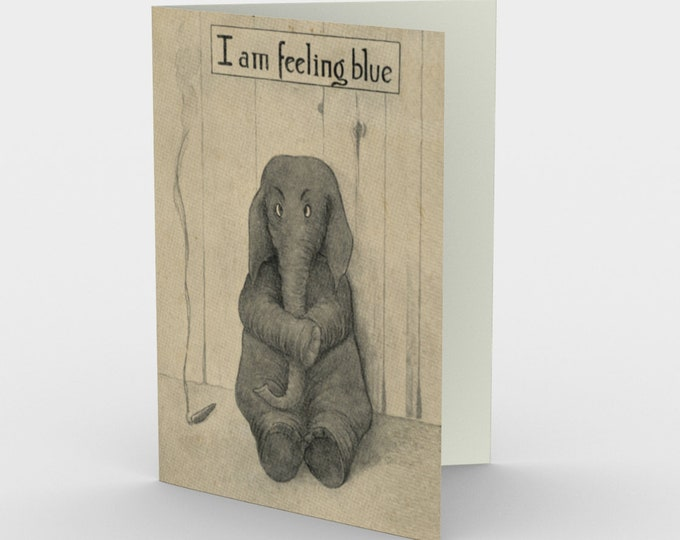 I Am Feeling Blue - Stationery Cards (3), With An Image From An Antique Vintage Postcard, Circa 1905.