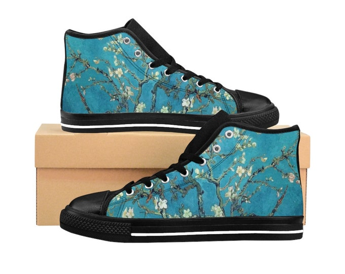 Almond Blossoms, Women's High-top Sneakers, Vintage Painting, Van Gogh 1890