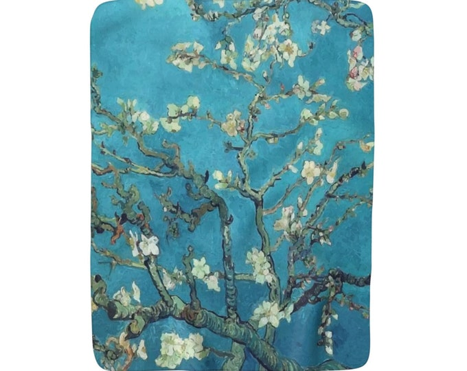 "Almond Blossoms, Sherpa Fleece Blanket, Vintage, Antique Painting, Vincent Van Gogh, 1890, 50""x60"""