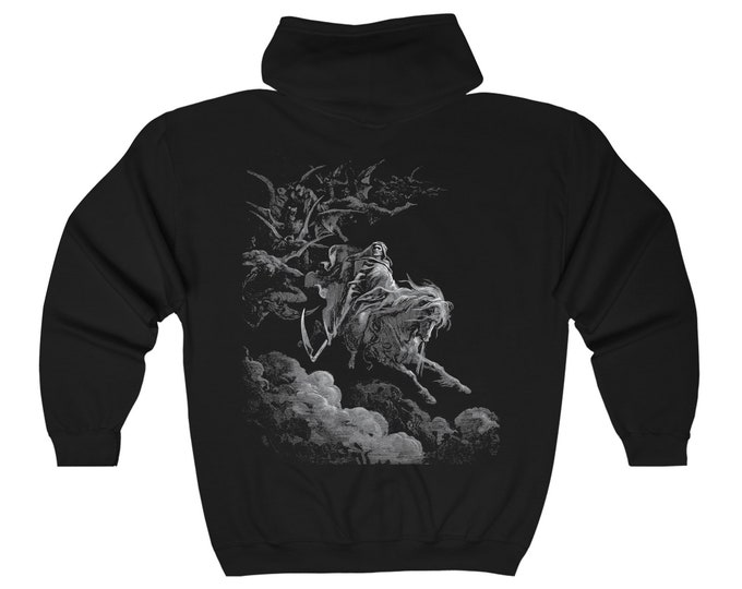 Death Rides Pale Horse, Heavy Blend Full Zip Hoodie, Vintage Illustration, Dore, 1865