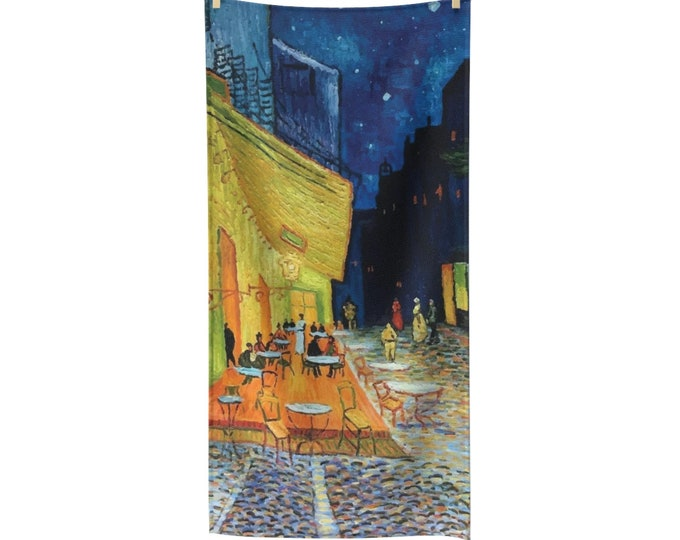 Cafe Terrace At Night, Poly-cotton Bath Towel, Vintage, Antique Painting, Vincent Van Gogh, 1888