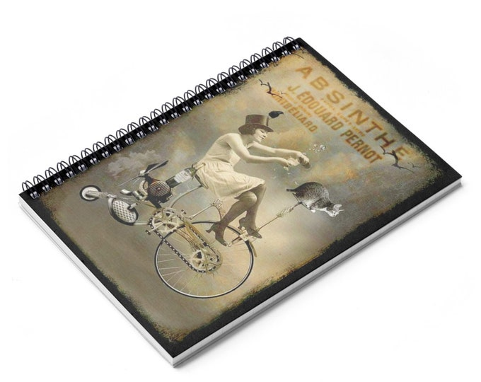 Riding High - Ruled Line Spiral Notebook With An Image From An Antique Vintage Surreal Absinthe Advertisement, Circa 1920.