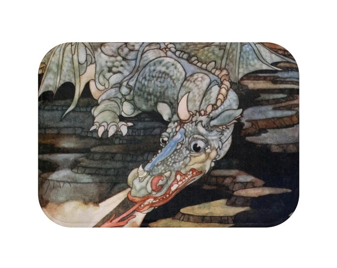 Here Be Dragons, Bath Mat, Vintage Art Nouveau Illustration