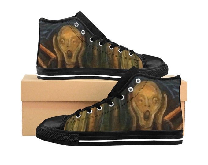 The Scream, Men's High-top Sneakers, Vintage/Antique Painting, Edvard Munch 1893