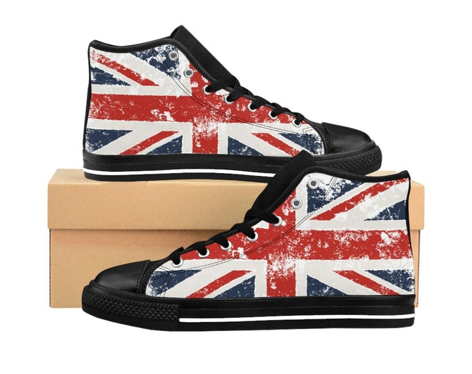 Shabby British Flag, Men's High-top Sneakers