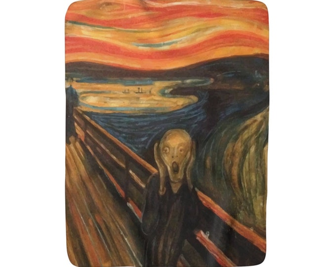 "The Scream, Sherpa Fleece Blanket, Vintage, Antique Painting, Edvard Munch, 1893, 50""x60"""