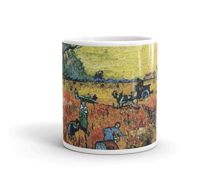 Red Vineyard, White Glossy Mug, Vintage, Antique Painting, Vincent Van Gogh, 1888