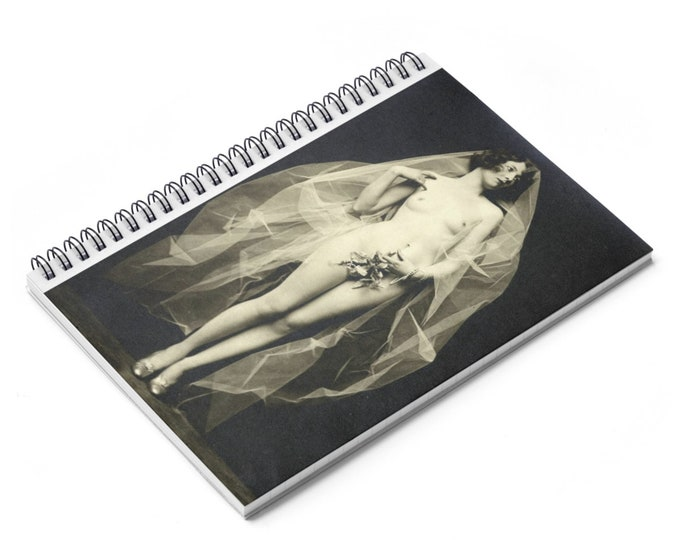 Mistletoe - Ruled Line Spiral Notebook With An Image From An Antique Vintage Photo, Circa 1920.