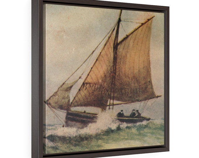"""Framed Wrapped Canvas With A Vintage Image From An Antique Postcard. """"Three Men On A Sailboat"""". Circa 1900."""