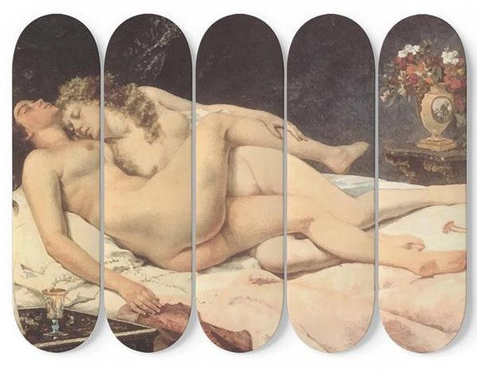 Victorian Lesbians, Skateboard Art, 5 Maple Decks, Vintage Painting, Courbet
