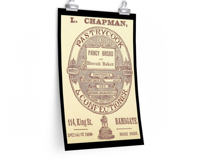 L. Chapman Pastrycook Advertisement - Fine Art Poster - From An Antique Vintage Illustration, Circa 1897.