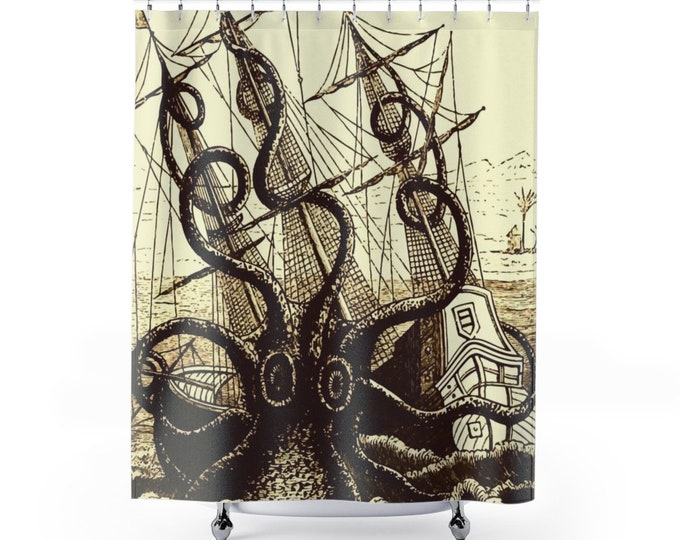 Kraken Attacks Ship, Polyester Shower Curtain, Vintage, Antique Illustration, Pierre Denys de Montfort, 1801