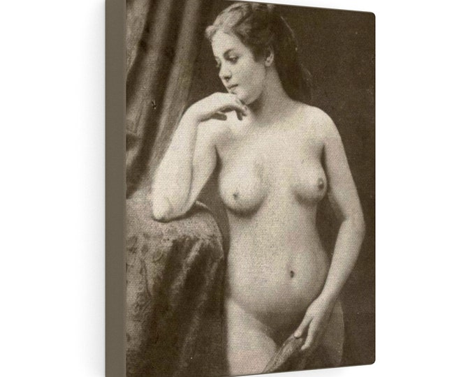 Contemplation - Wrapped Canvas With A Soft, Boudoir-Style, Image From An Antique Vintage Photo., Circa 1910.