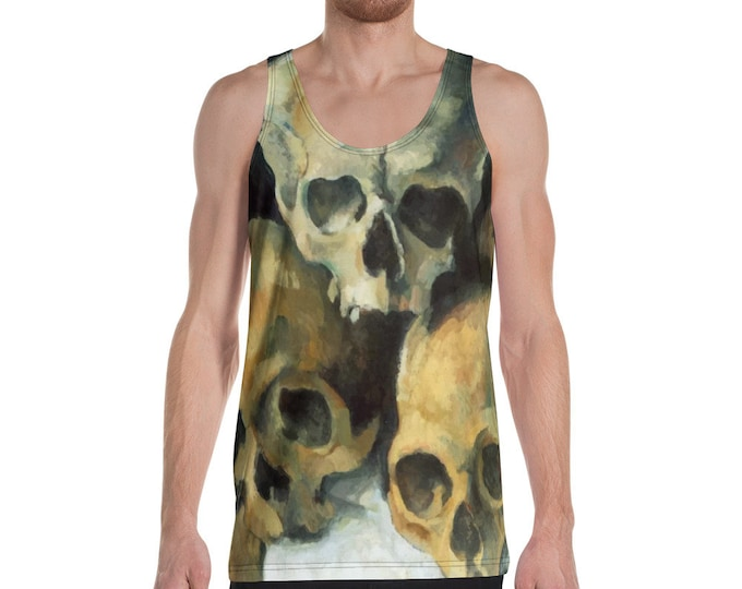 Pyramid Of Skulls, All-Over Print Men's Tank Top, Vintage Painting, Cezanne 1900