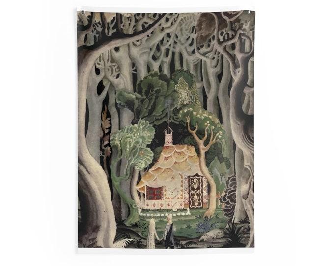 Gingerbread House, Indoor Wall Tapestry, Vintage, Art Deco, Antique Watercolor, Hansel & Gretel, 1921