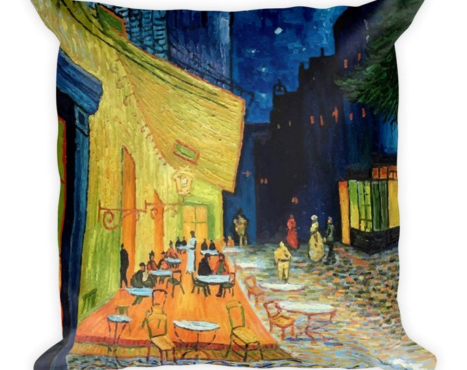 Cafe Terrace At Night, All-Over Print Basic Pillow Case With Stuffing, Vintage, Antique Painting, Vincent Van Gogh, 1888