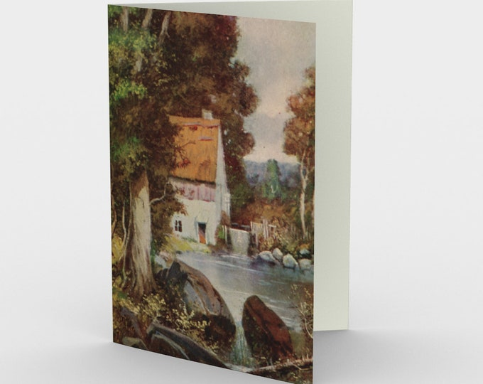 """Thinking Of You Stationary Card, With Vintage Illustration From An Antique Postcard. """"Thatched Cottage By The Stream"""". Circa 1910."""