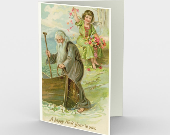 A Happy New Year To You - New Year's Stationery Cards (3), With An Image From An Antique Vintage Postcard, Circa 1910.