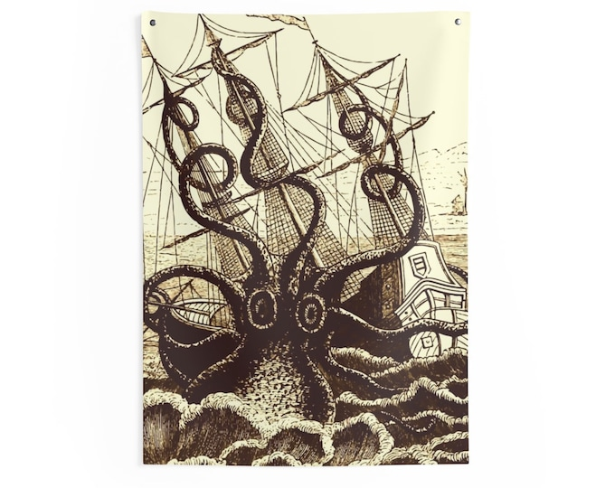 Kraken Attacks Ship, Indoor Wall Tapestry, Vintage, Antique Illustration, Pierre Denys de Montfort, 1801
