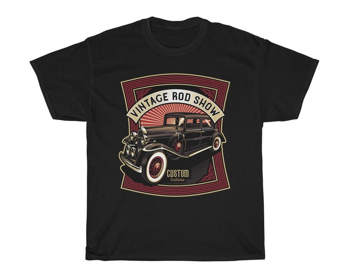 Vintage Hot Rod Show - Unisex Heavy Cotton Tee With Vintage Inspired Image Of A Custom Hot Rod,