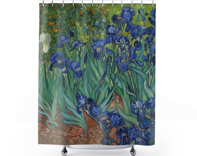 Irises, Polyester Shower Curtain, Vintage Painting, Van Gogh 1890