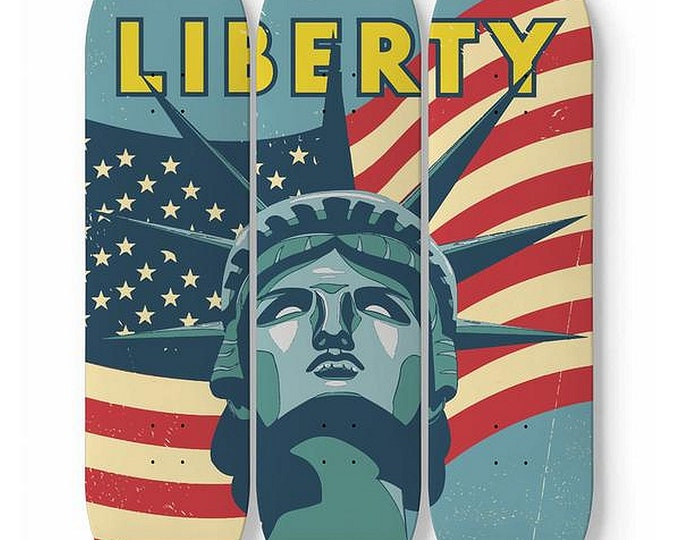 Liberty, Skateboard Wall Art, Vintage Inspired Statue of Liberty and American Flag, Patriotic