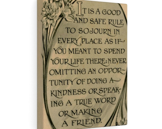 """Stretched Canvas With Vintage Image From An Antique Postcard. """"A Good And Safe Rule"""". Circa 1905."""