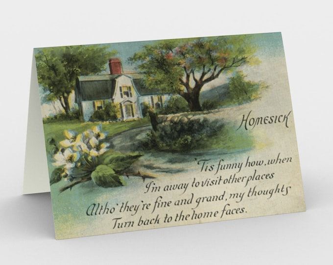"""Thinking Of You Stationary Card, With Vintage Illustration From An Antique Postcard. """"Homesick"""". Circa 1910."""