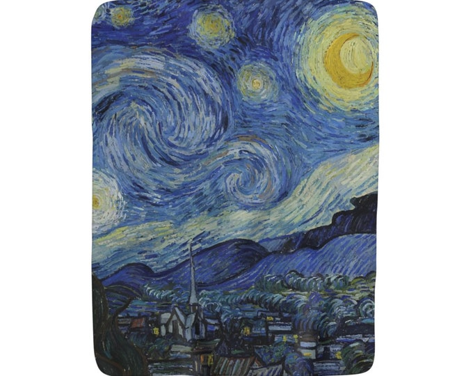 "Starry Night, Sherpa Fleece Blanket, Vintage, Antique Painting, Vincent Van Gogh, 1889, 50""x60"""