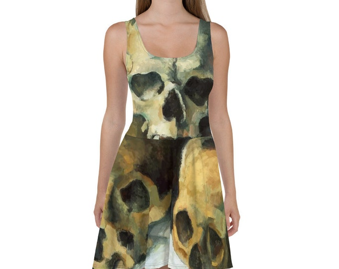 Pyramid Of Skulls, All-Over Print Skater Dress, Vintage Painting, Paul Cezanne 1900