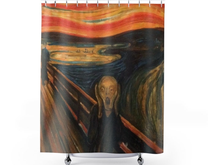 The Scream, Polyester Shower Curtain, Vintage, Antique Painting, Edvard Munch, 1893