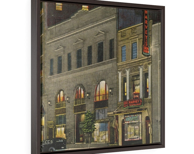 Framed Wrapped Canvas With A Vintage Image Of Harvey's Restaurant In Washington DC From An Antique Postcard Circa 1935